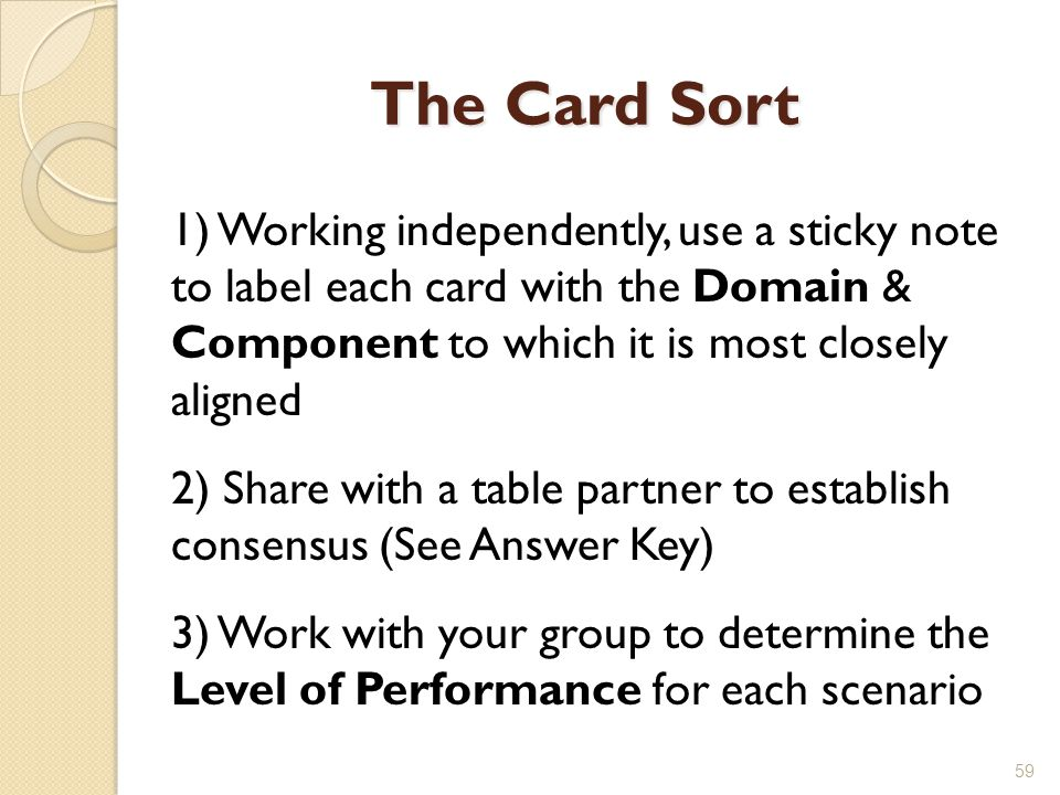 The Card Sort 1) Working independently, use a sticky note to label each card with the Domain & Component to which it is most closely aligned.