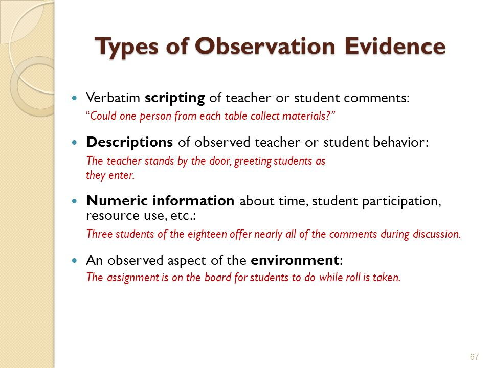 Types of Observation Evidence