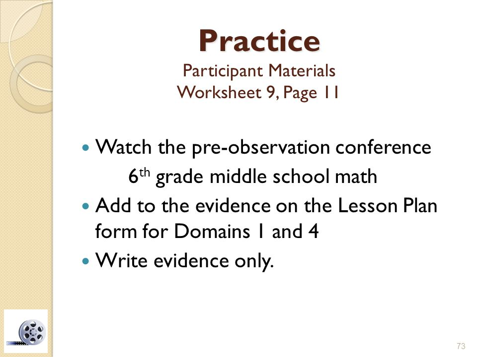 Practice Participant Materials Worksheet 9, Page 11