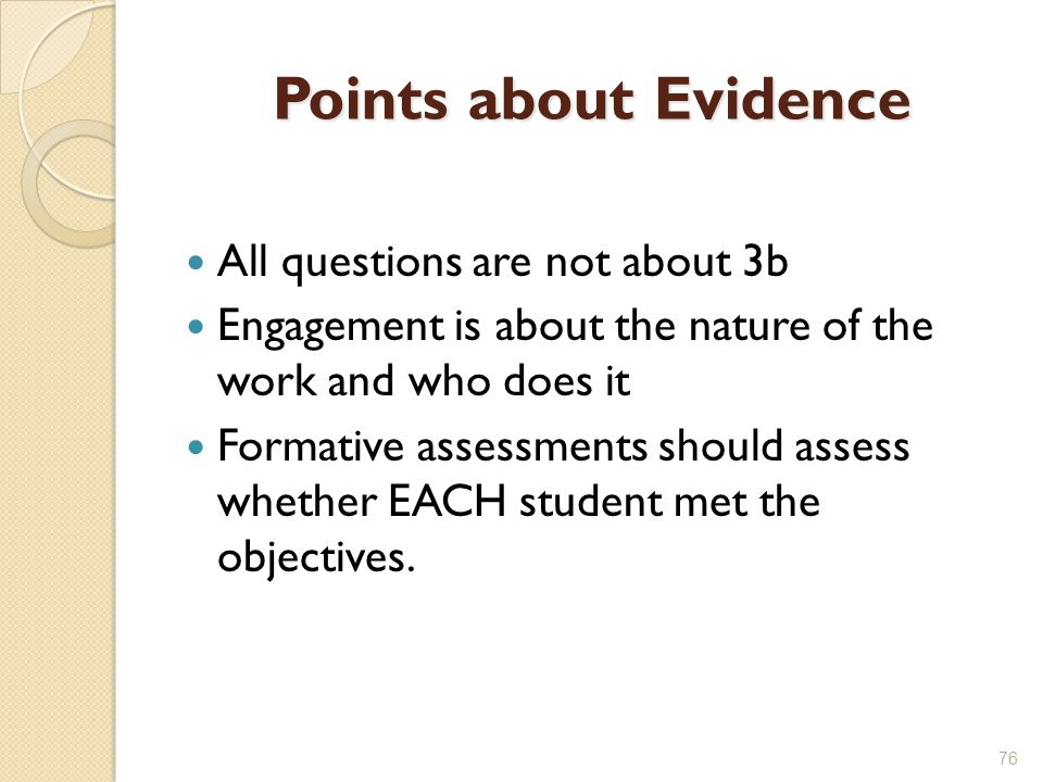 Points about Evidence All questions are not about 3b