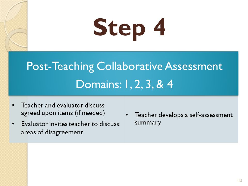 Step 4 Post-Teaching Collaborative Assessment Domains: 1, 2, 3, & 4