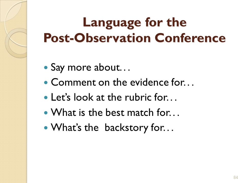 Language for the Post-Observation Conference