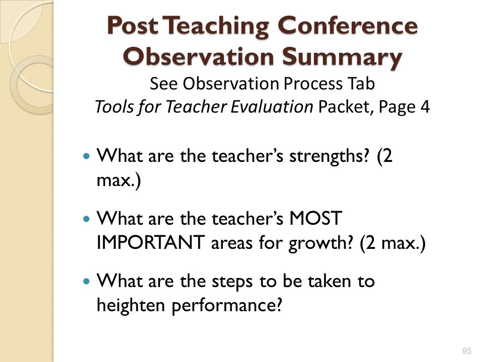 Post Teaching Conference Observation Summary See Observation Process Tab Tools for Teacher Evaluation Packet, Page 4