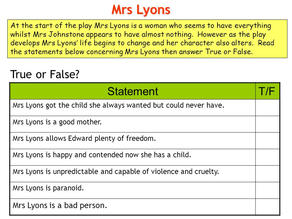 Mrs Lyons True or False Statement T/F Mrs Lyons is a bad person.