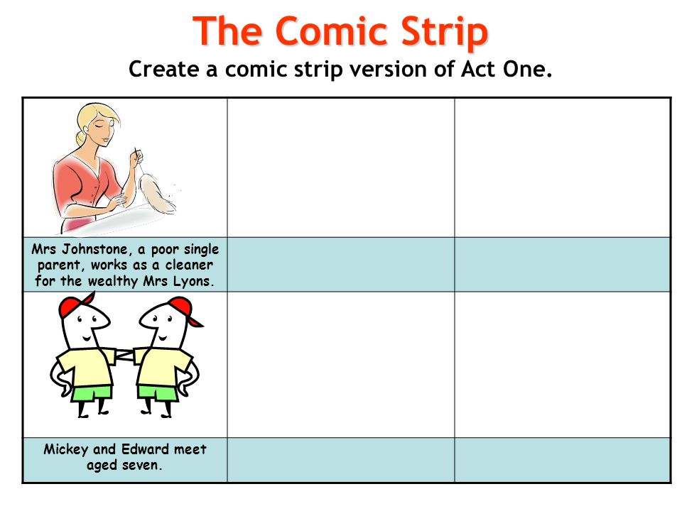 The Comic Strip Create a comic strip version of Act One.