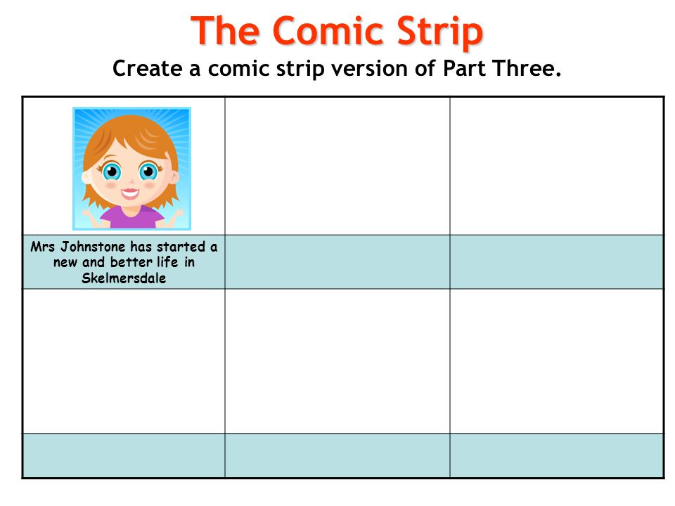 The Comic Strip Create a comic strip version of Part Three.
