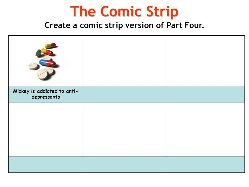 The Comic Strip Create a comic strip version of Part Four.