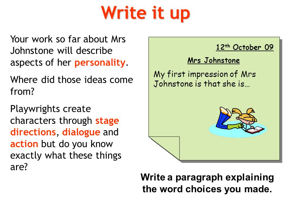 Write a paragraph explaining the word choices you made.