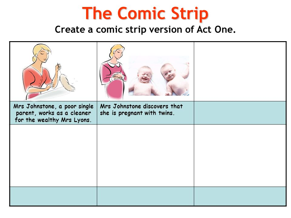Create a comic strip version of Act One.