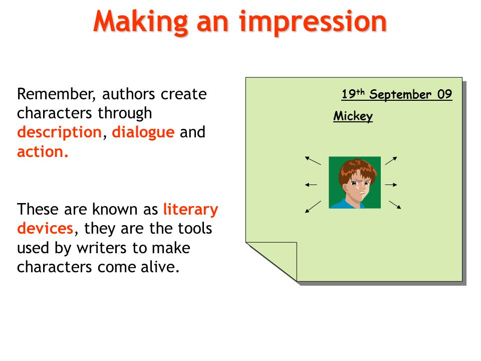 Making an impression Remember, authors create characters through description, dialogue and action.