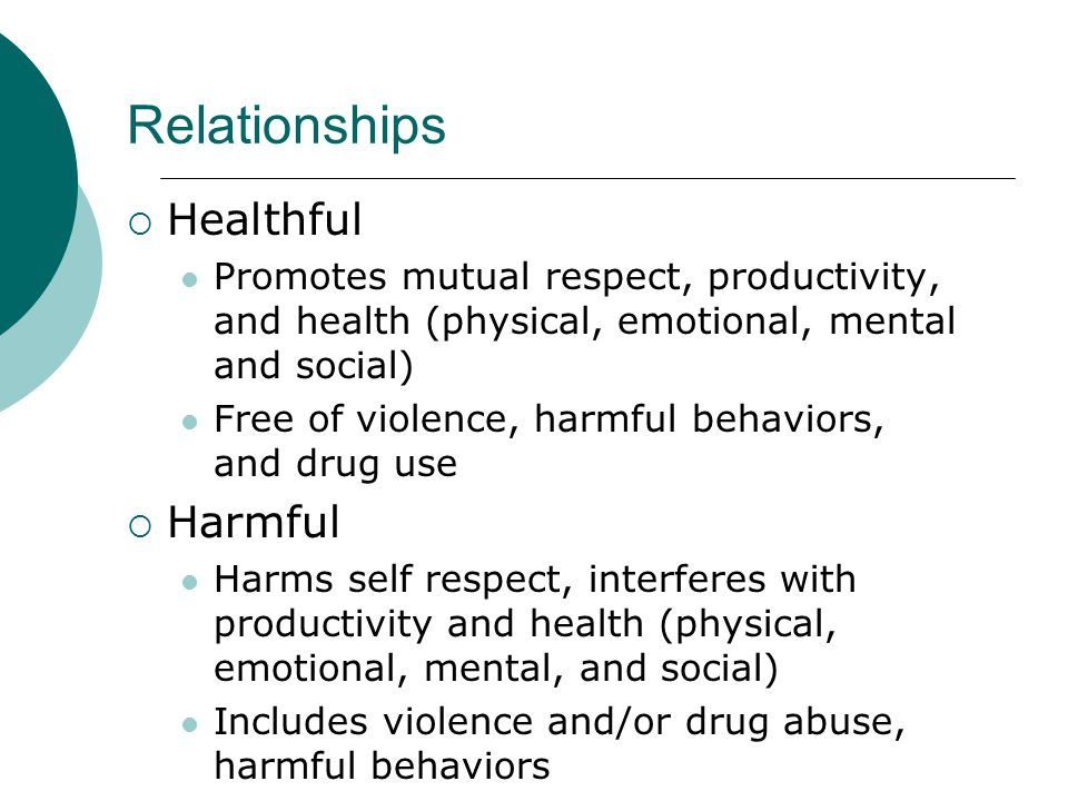 Relationships Healthful Harmful
