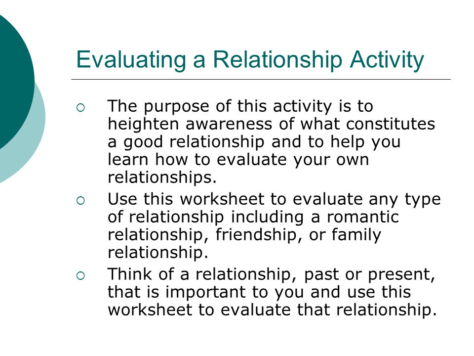 Evaluating a Relationship Activity