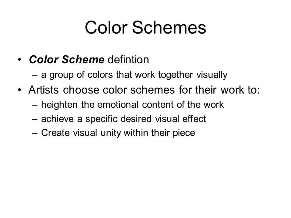Color Schemes Color Scheme defintion