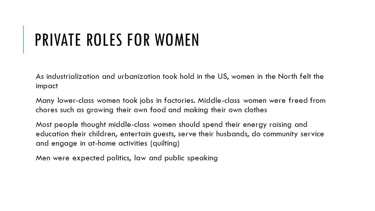 Private Roles for Women