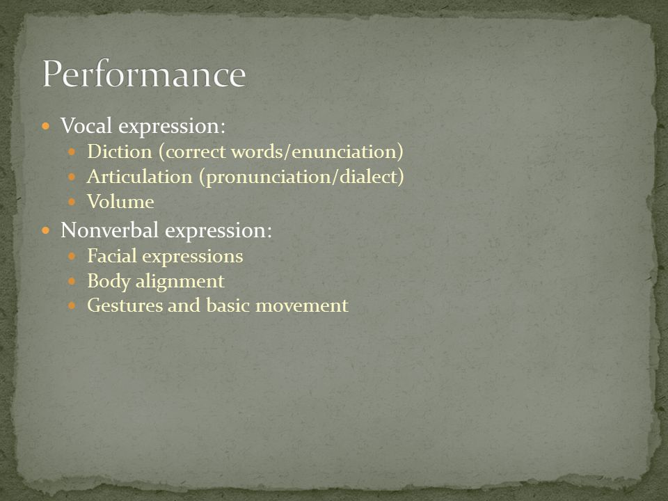 Performance Vocal expression: Nonverbal expression: