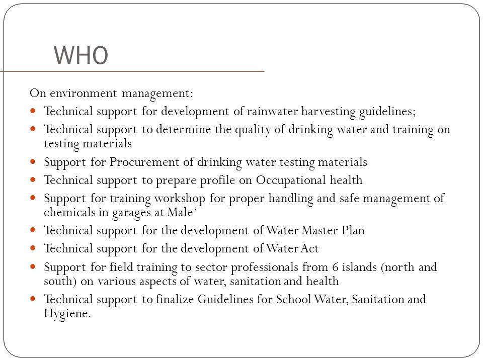WHO On environment management: