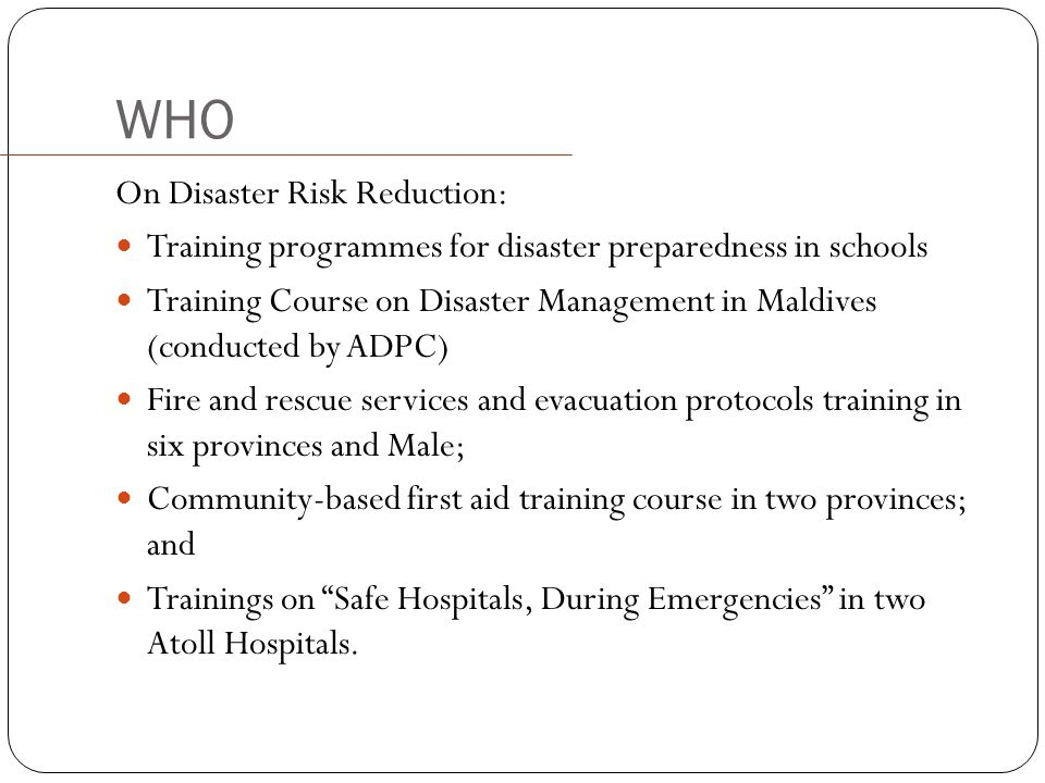 WHO On Disaster Risk Reduction:
