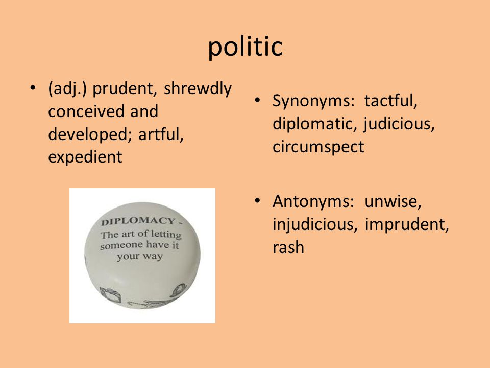 politic (adj.) prudent, shrewdly conceived and developed; artful, expedient. Synonyms: tactful, diplomatic, judicious, circumspect.
