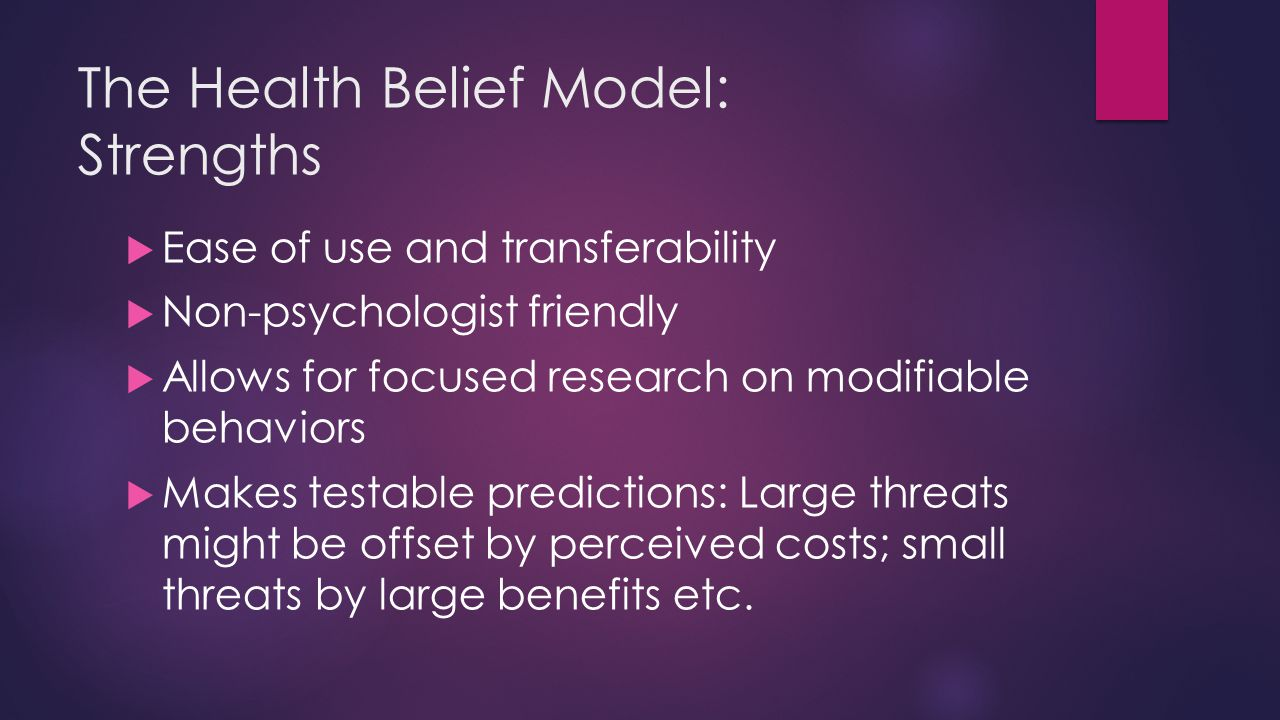The Health Belief Model: Strengths