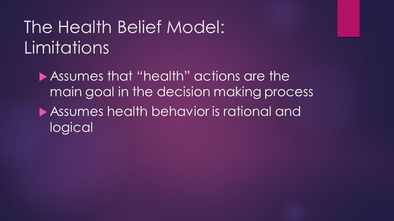 The Health Belief Model: Limitations