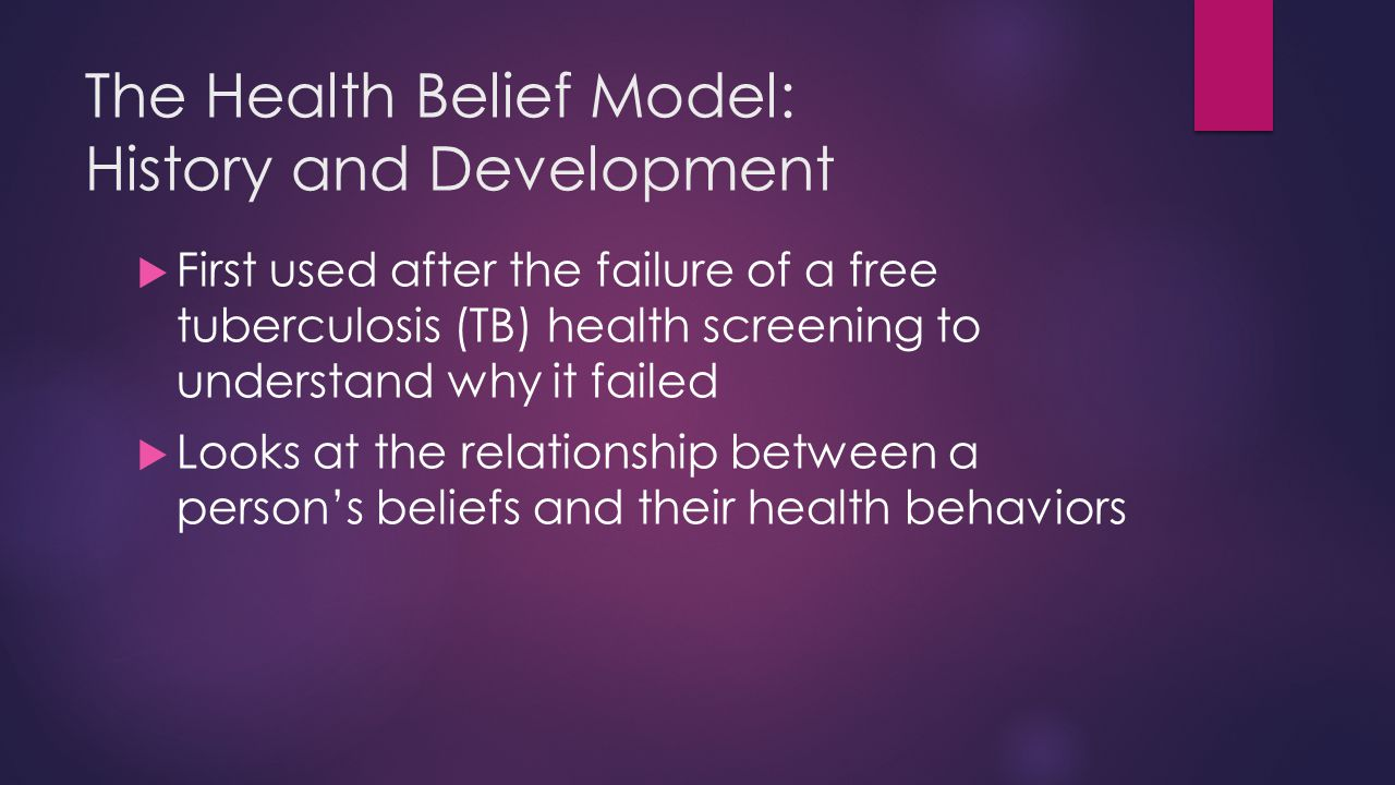 The Health Belief Model: History and Development