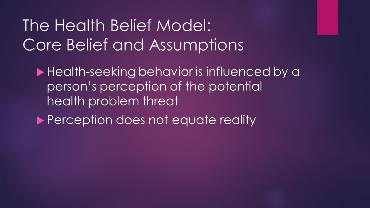The Health Belief Model: Core Belief and Assumptions