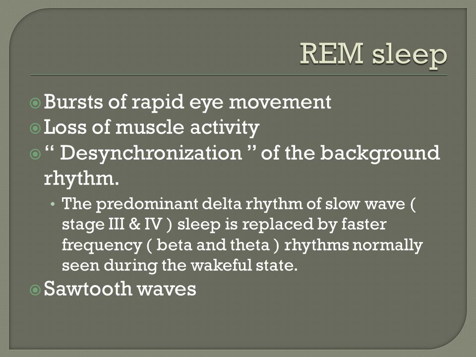 REM sleep Bursts of rapid eye movement Loss of muscle activity