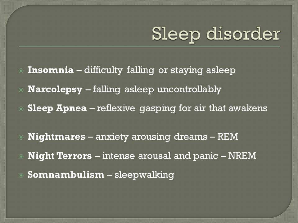 Sleep disorder Insomnia – difficulty falling or staying asleep