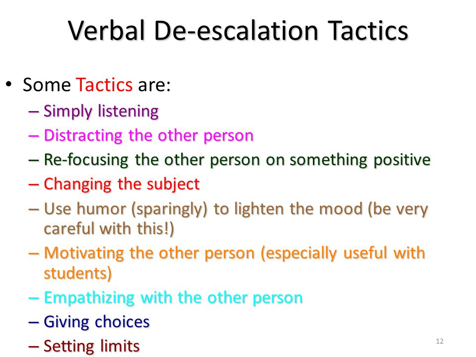 Verbal De-escalation Tactics