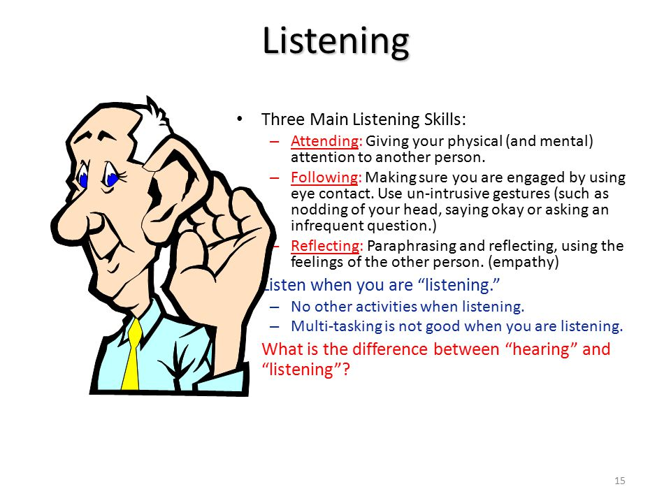 Listening Three Main Listening Skills: