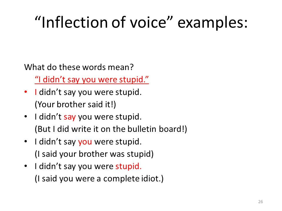 Inflection of voice examples: