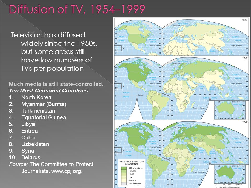 Diffusion of TV, 1954–1999 Television has diffused widely since the 1950s, but some areas still have low numbers of TVs per population.