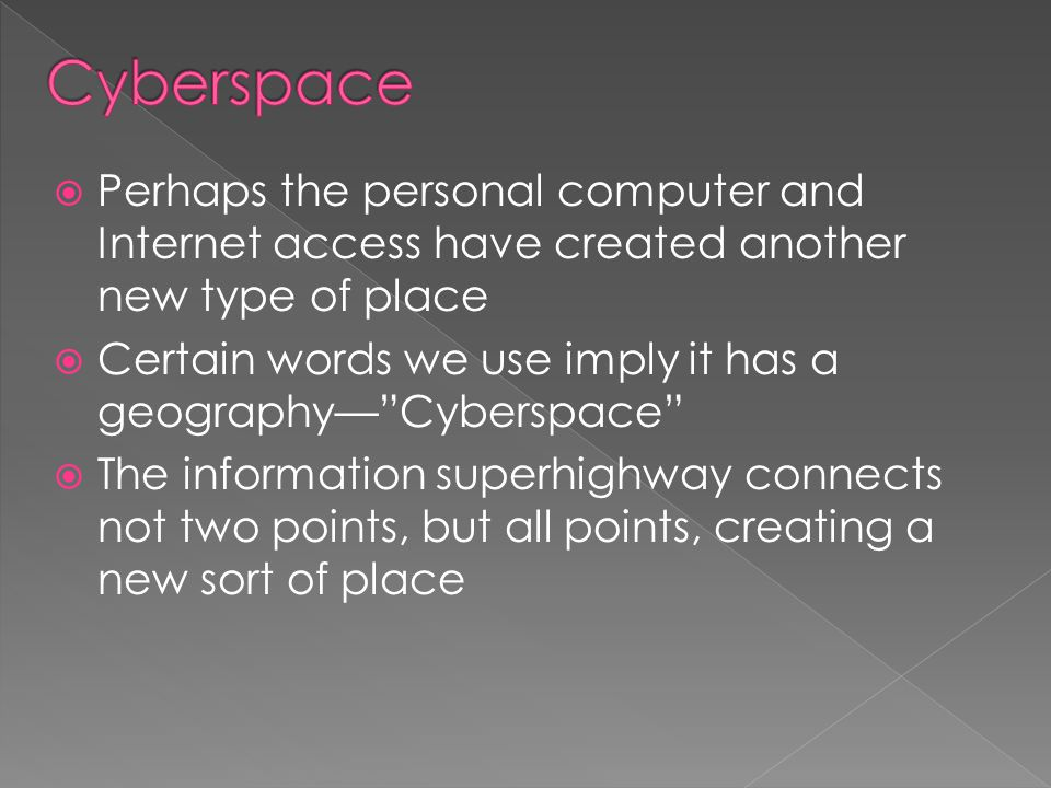 Cyberspace Perhaps the personal computer and Internet access have created another new type of place.