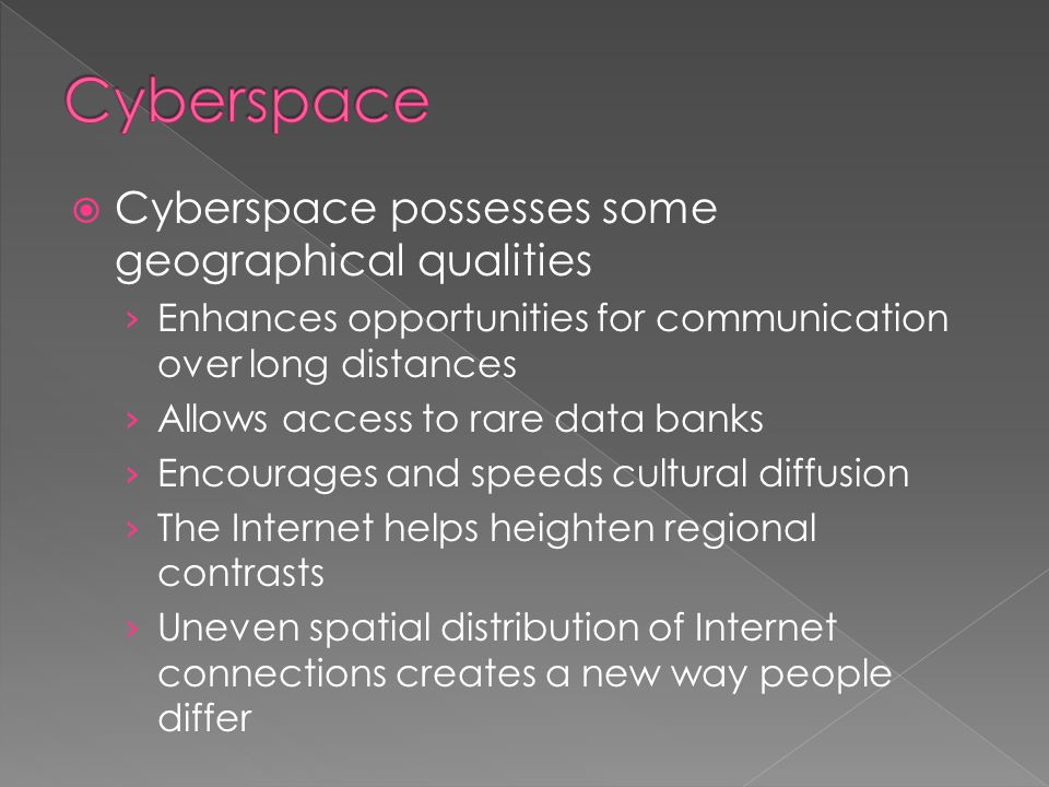 Cyberspace Cyberspace possesses some geographical qualities