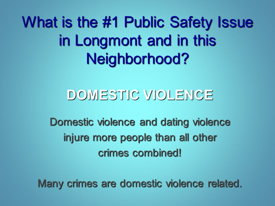 What is the #1 Public Safety Issue in Longmont and in this Neighborhood