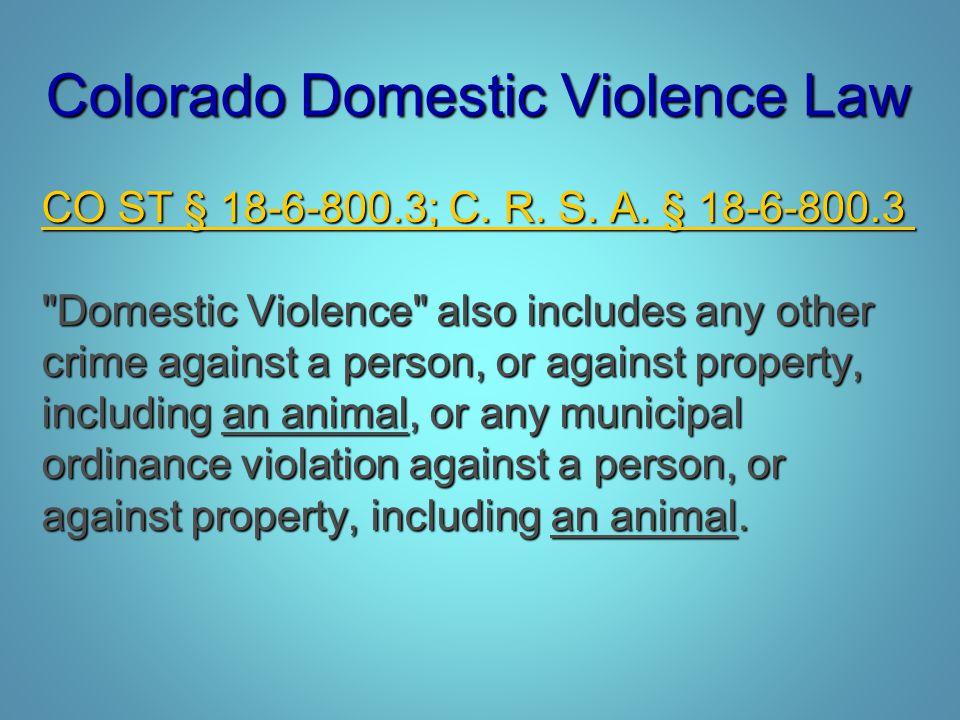 Colorado Domestic Violence Law