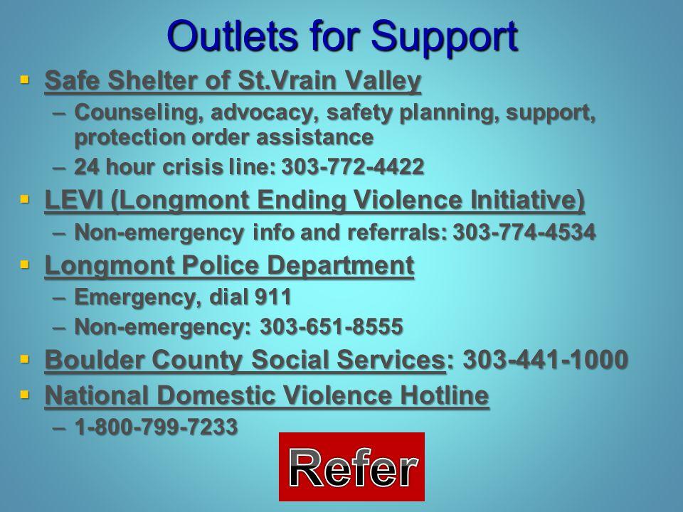 Refer Outlets for Support Safe Shelter of St.Vrain Valley