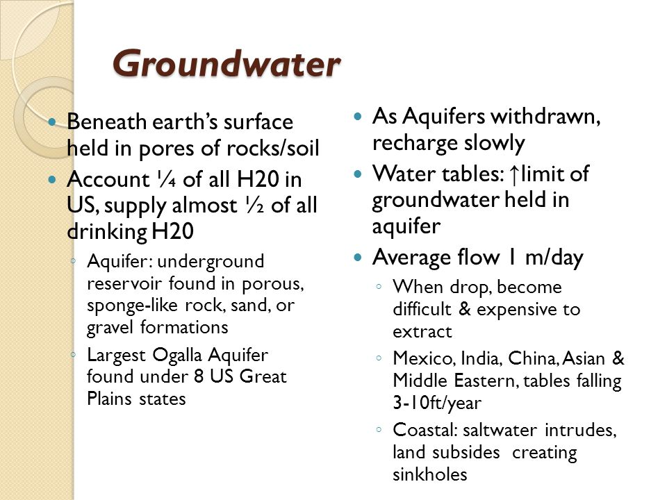 Groundwater As Aquifers withdrawn, recharge slowly