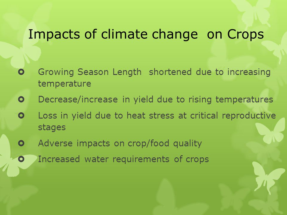 Impacts of climate change on Crops