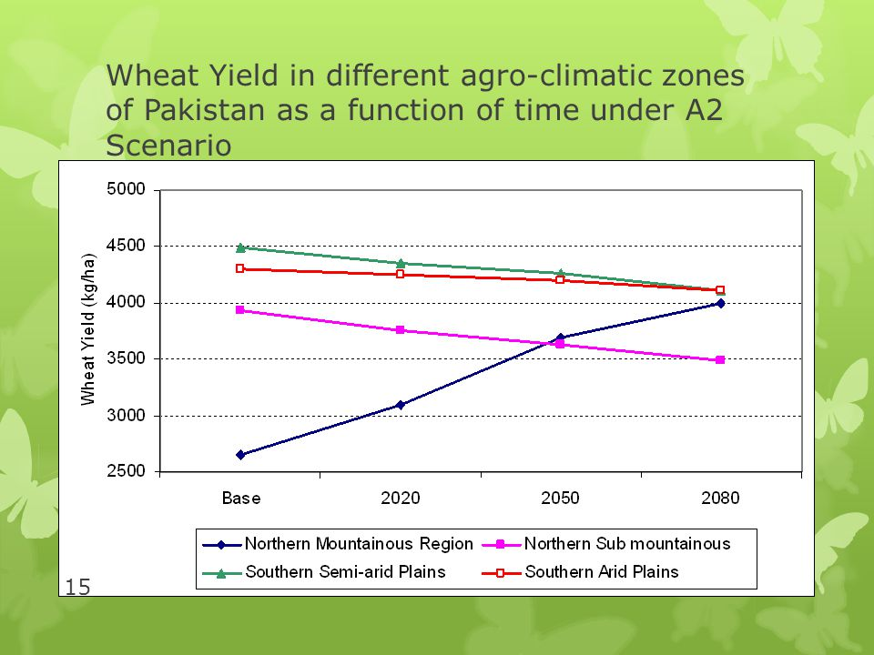Wheat Yield in different agro-climatic zones of Pakistan as a function of time under A2 Scenario