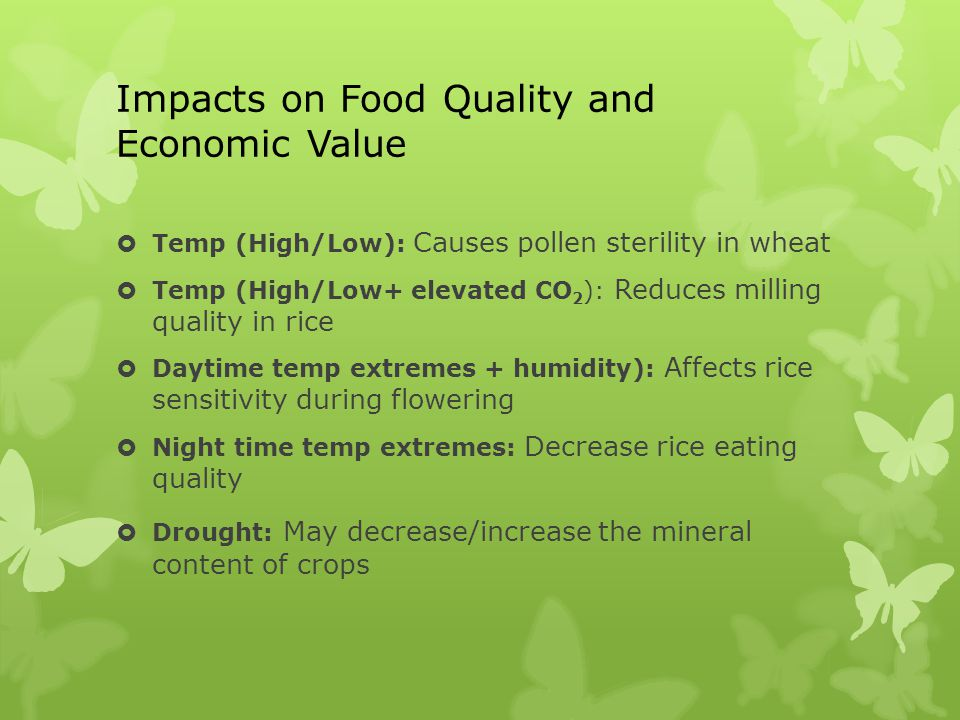 Impacts on Food Quality and Economic Value