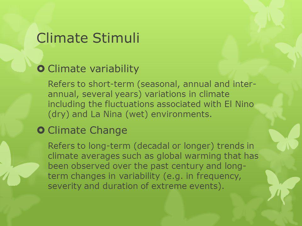 Climate Stimuli Climate variability Climate Change