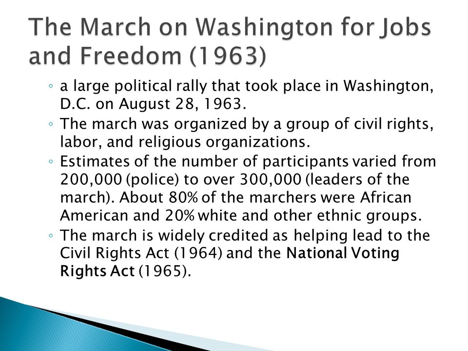 The March on Washington for Jobs and Freedom (1963)