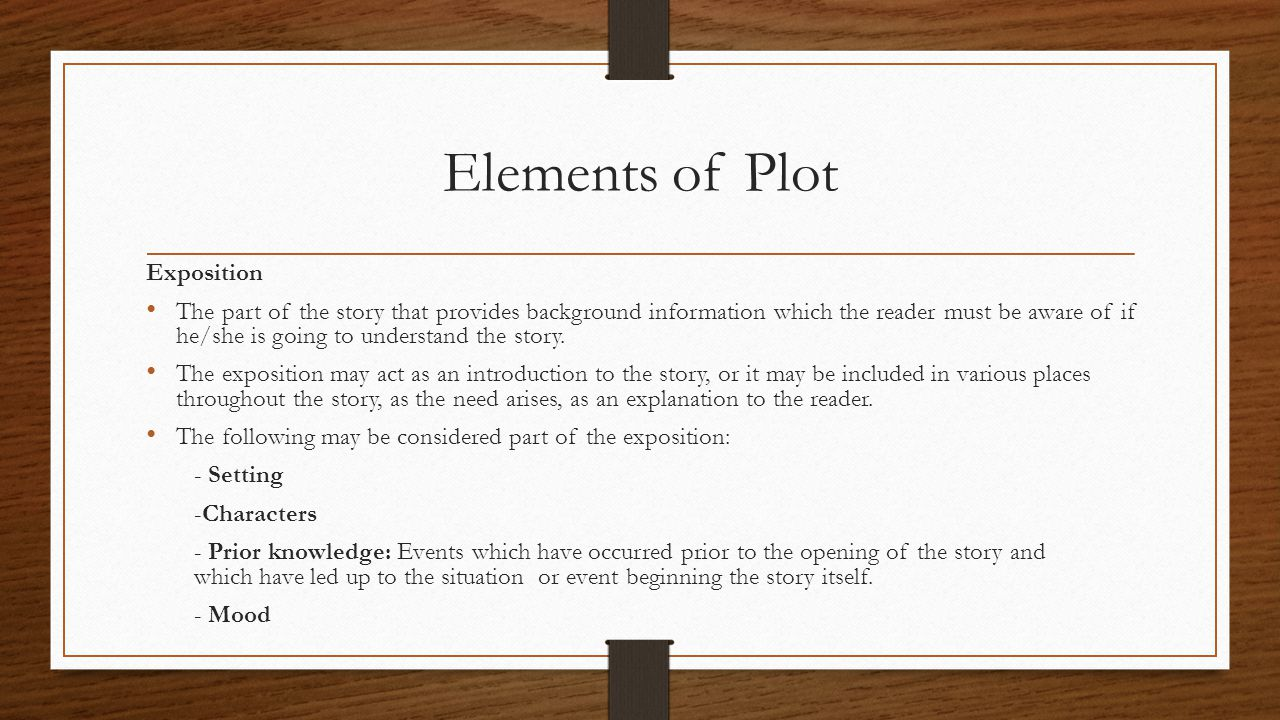 Elements of Plot Exposition