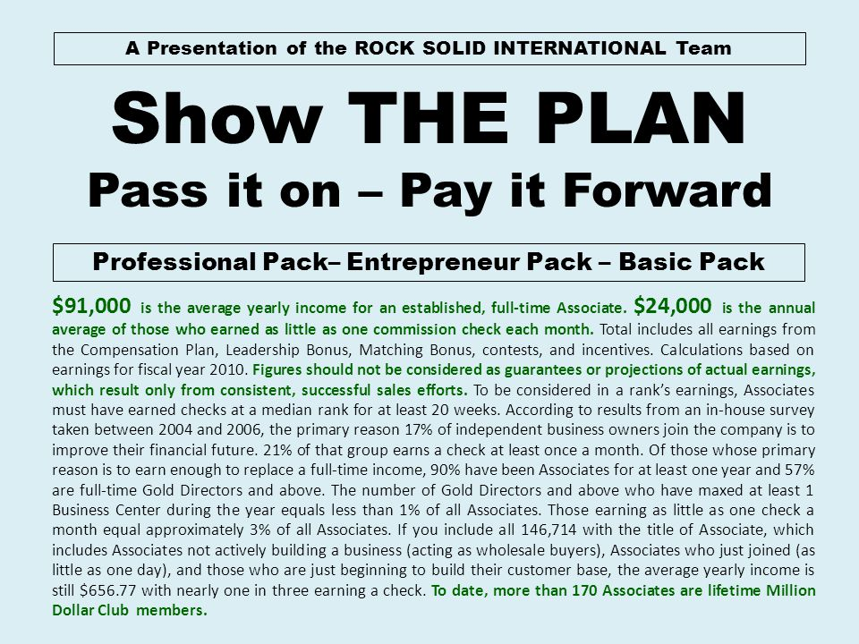 Show THE PLAN Pass it on – Pay it Forward