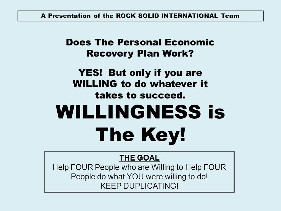 WILLINGNESS is The Key! Does The Personal Economic Recovery Plan Work