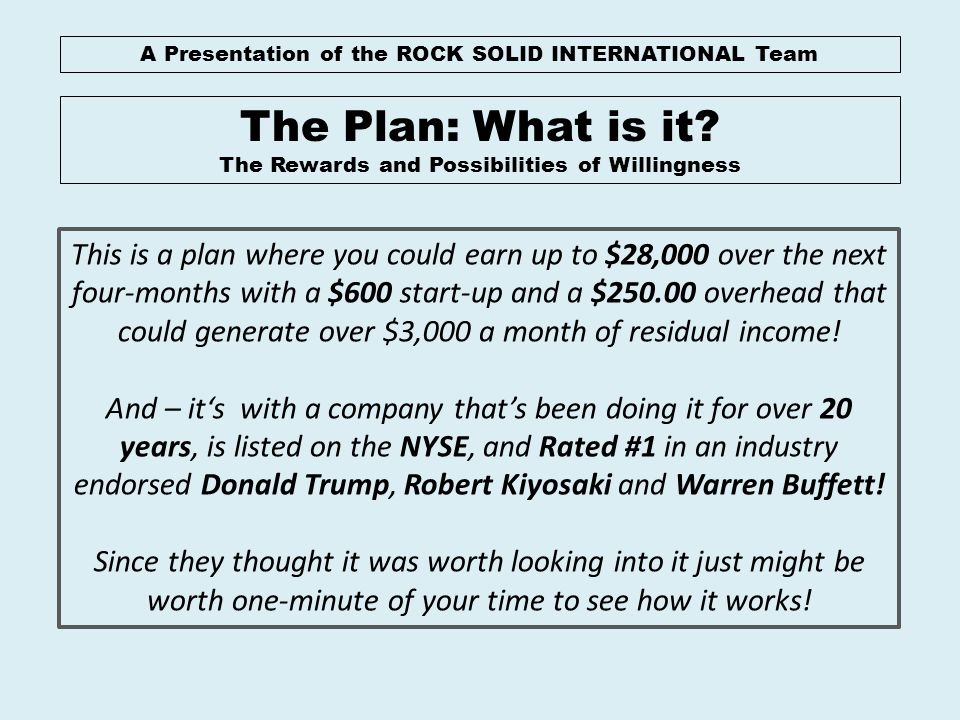 A Presentation of the ROCK SOLID INTERNATIONAL Team