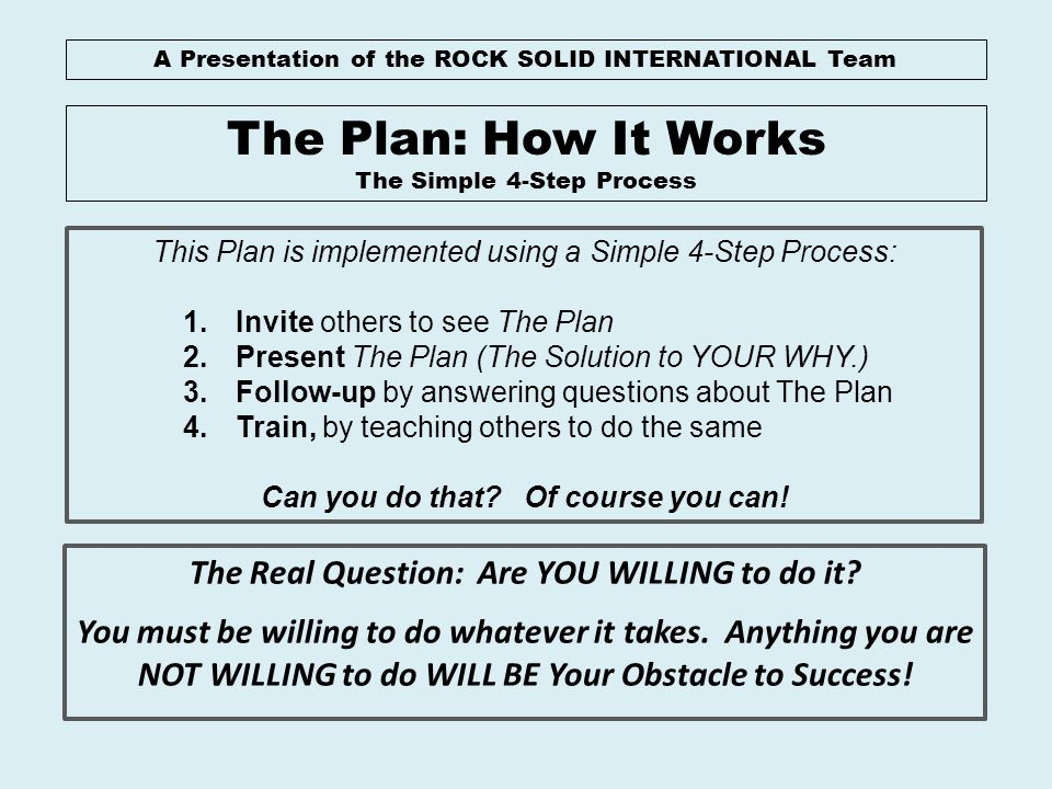 The Plan: How It Works The Real Question: Are YOU WILLING to do it