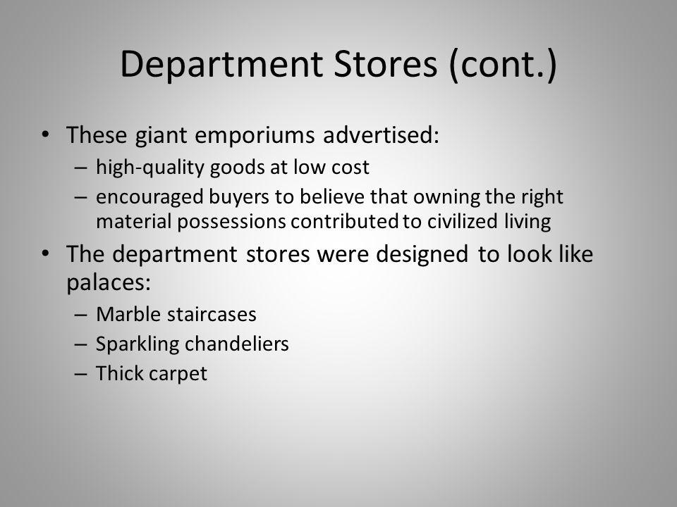 Department Stores (cont.)
