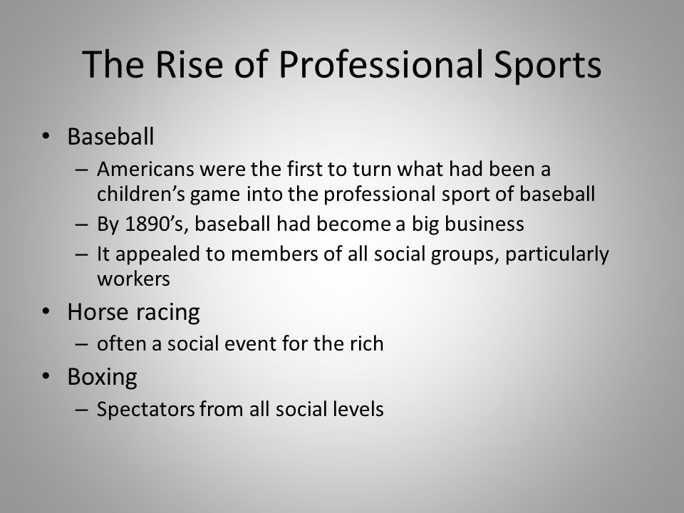 The Rise of Professional Sports